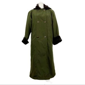 Larry Levine Double Breasted Trench Coat faux fur